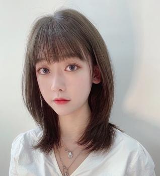 闷青亚麻灰色 法式刘海 初恋发