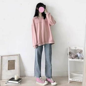 粉色卫衣 牛仔裤 匡威
